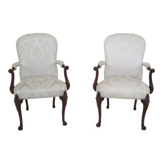 21st Century Southwood Georgian Mahogany Open Armchairs- A Pair For Sale