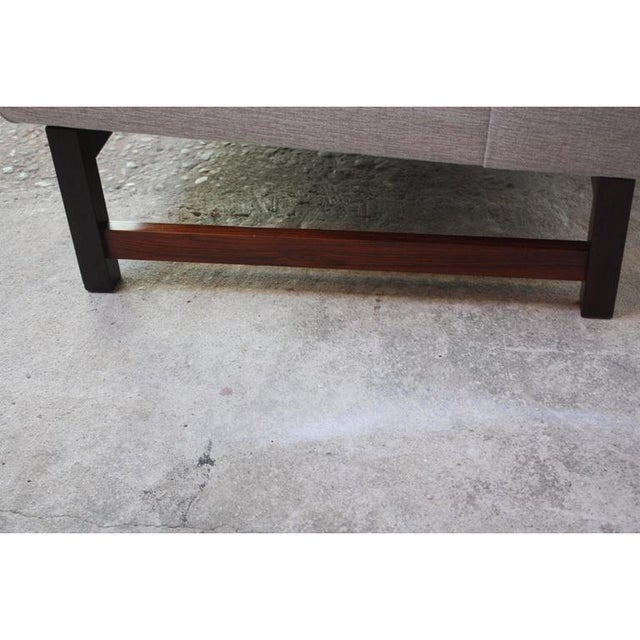 Danish Modern Chenille & Rosewood Settee For Sale - Image 9 of 11
