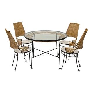 Arthur Umanoff Cane & Iron Dining Set - 5 Pieces For Sale
