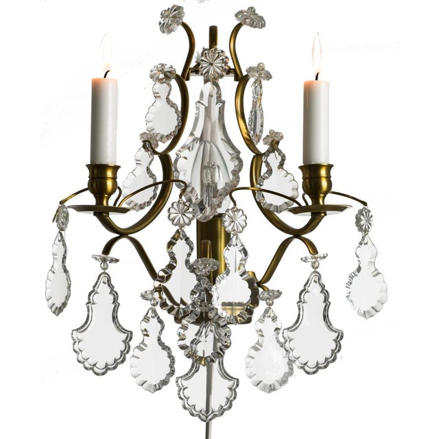 Rococo style wall Chandelier in amber coloured brass with pendeloque shaped crystals (width 32cm/13 inches) - Image 8 of 8