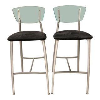 Modern Lucite + Aluminum + Upholstered Bar Stools - A Pair For Sale