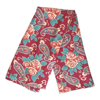 Vintage Russian Red Roses + Turquoise Paisley Roller Print Tablecloth From Tamam For Sale