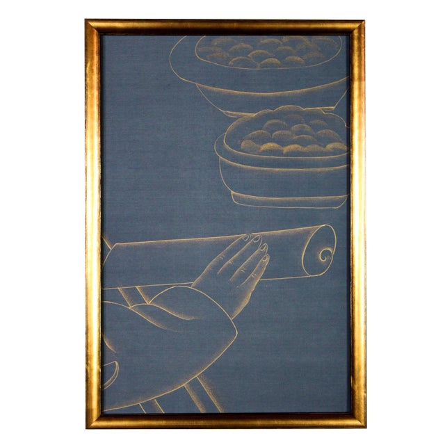 Metallic Gold Paint on Blue Silk Chinoiserie Diptych Paintings - 2 Pieces For Sale - Image 4 of 8