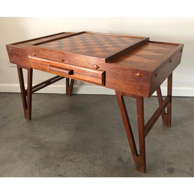 Mid Century Danish Modern Teak Game Table For Sale - Image 9 of 9