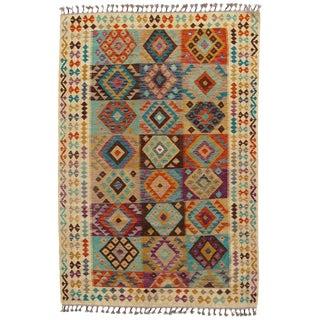 Afghan Kilim Handspun Wool Rug - 6′6″ × 9′5″ For Sale
