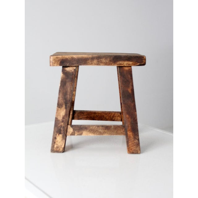 Brown Vintage Chinese Wood Stool For Sale - Image 8 of 8