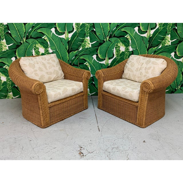 Wicker Club Chairs in the Style of Michael Taylor - a Pair For Sale - Image 11 of 11