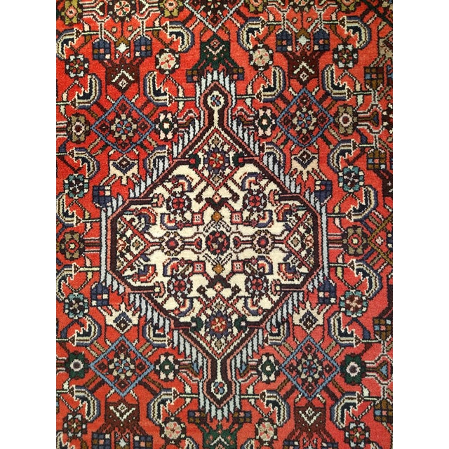Red 1950s Persian Handmade Village Carpet Rug 4′3″ × 6′11″ For Sale - Image 8 of 13