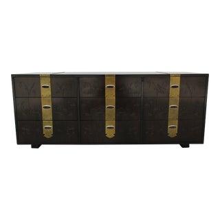 Henredon Brass and Floral Incised Long Dresser For Sale