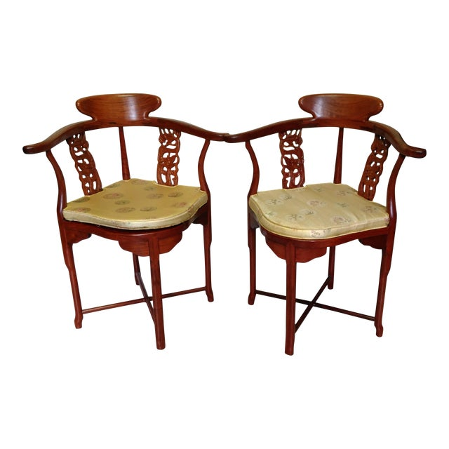 Chinese Solid Rosewood Corner Chairs - A Pair For Sale