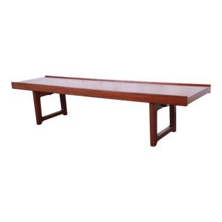 "1960s Torbjørn Afdal for Bruksbo ""Krobo"" Teak Coffee Table or Bench, Newly Refinished For Sale"