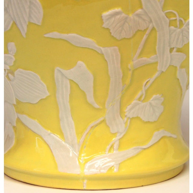 Ceramic Large Antique Japanese Carved Studio Porcelain Yellow Covered Urn Vase For Sale - Image 7 of 11