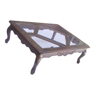1970s Traditional Pennsylvania House Oak and Glass Coffee Table For Sale