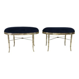 Mastercraft Italian Brass Faux Bamboo Benches, a Pair