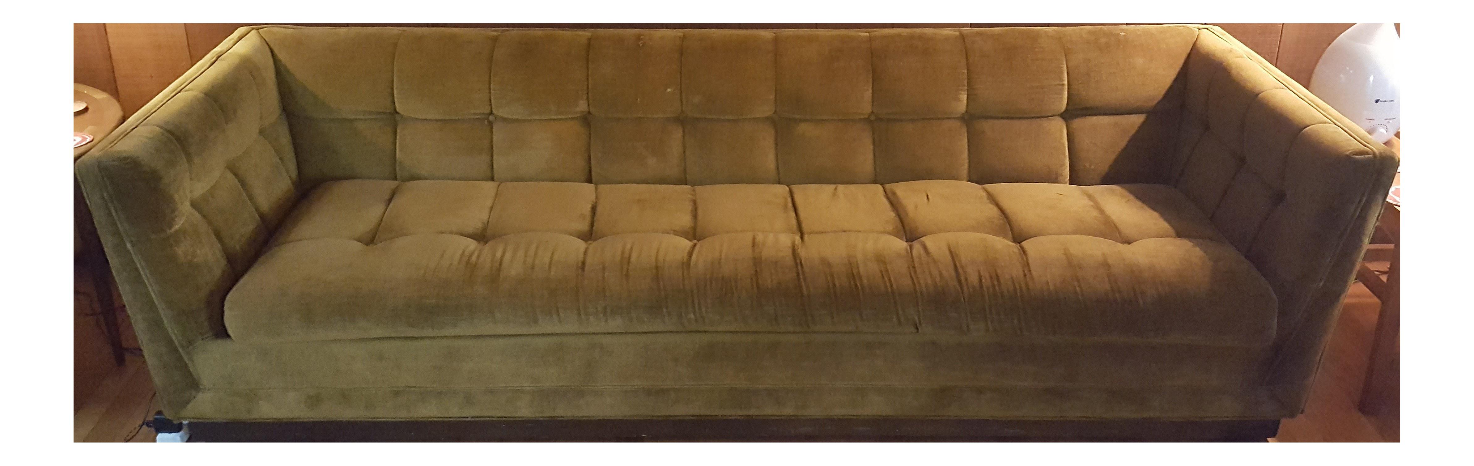 Mid Century Modern Citron Yellow Velvet Tufted Sofa For Sale