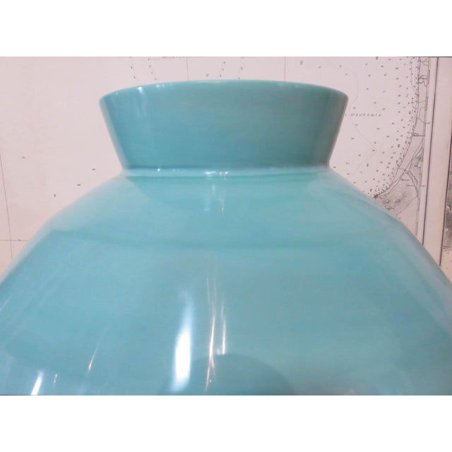 Contemporary Robert Kuo Turquoise Hand Blown Peking Glass Vase, Signed For Sale - Image 3 of 6