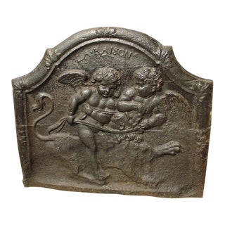 "18th Century Antique French ""La Raison"" Fireback For Sale"