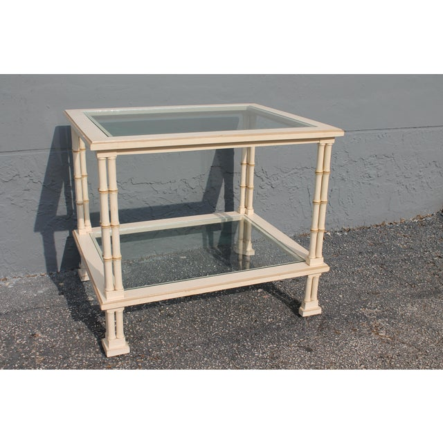 1960s Hollywood Regency Triple Stalk Off White Faux Bamboo Accent/Side Table For Sale - Image 9 of 9