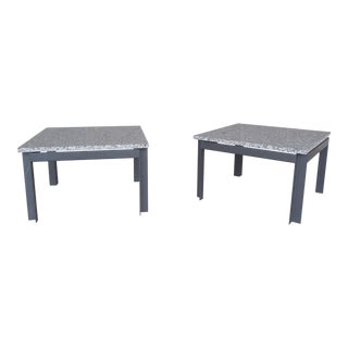 Mid Century Modern Floating Marble Top Steel Base Tables - A Pair For Sale