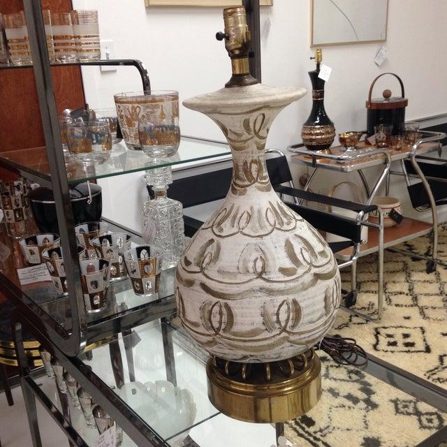 Hanpainted Mid-Century Lamp - Image 4 of 6