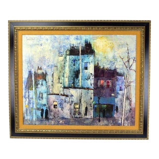Vintage French Oil Painting of Abstract Street Scene Maurille Prevost