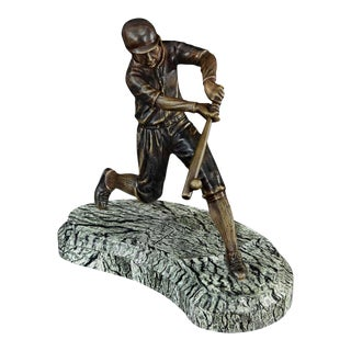 Scarborough House Baseball Player Statue Brass For Sale