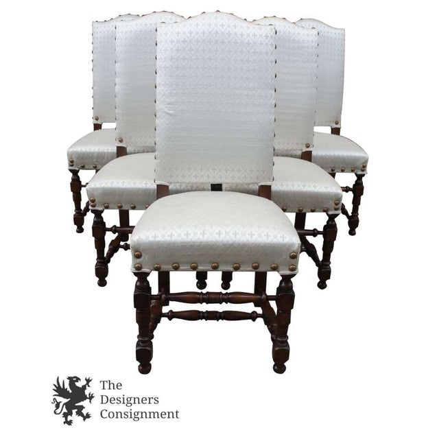 Early 20th Century Vintage Jacobean Spanish Style Dining Chairs- Set of 6 For Sale - Image 6 of 13