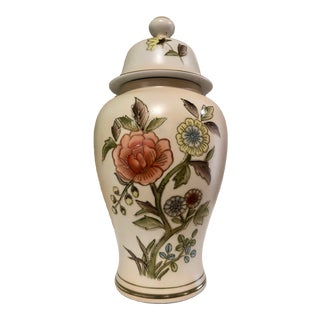 Vintage Floral Ginger Jar For Sale