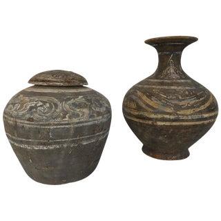 Han Dynasty Set of Urn and Vase For Sale
