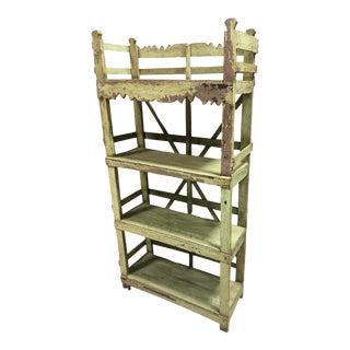 Green Potters Rack Bookcase Workshop Shelf Unit For Sale