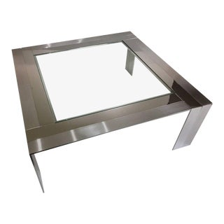 Stainless Steel and Glass Cocktail Table by Elaine Cohen for DIA For Sale