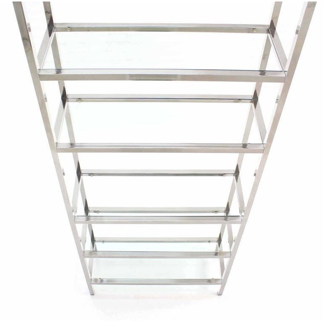 Pair of Tall Glass 6 Tier Shelves Chrome Etageres For Sale - Image 4 of 6