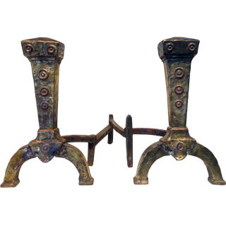 Mission Style Mixed Metal Brass Andirons - A Pair