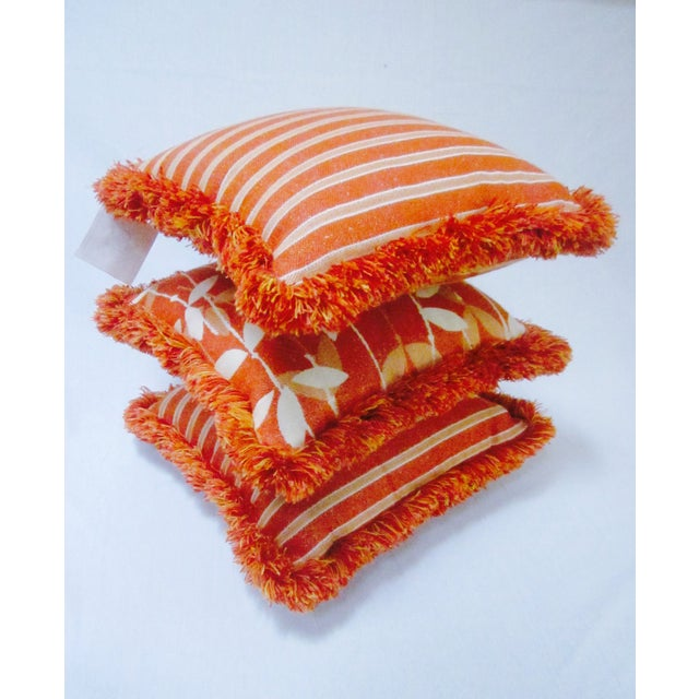 Moroccan Bohemian Orange Pillows & Placemats - Set of 9 For Sale - Image 9 of 11