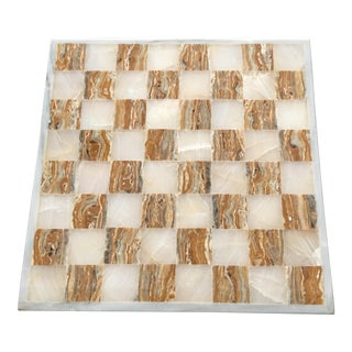 Alabaster Checkers Board
