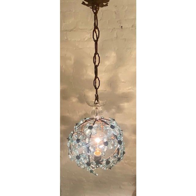 Italian Crystal Flower Pendant Light For Sale - Image 11 of 12
