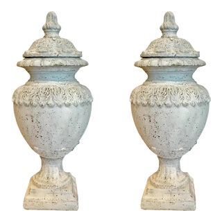 Transitional Large White Rustic Ceramic Urns With Lids For Sale