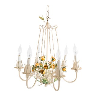Vintage Mid-Century Italian Tole Yellow Roses Six Arm Chandelier For Sale