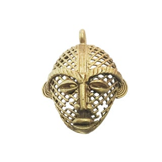 "African Baule Gold Weight Passport/Pendant Bronze Mask 2.75"" 2 For Sale"