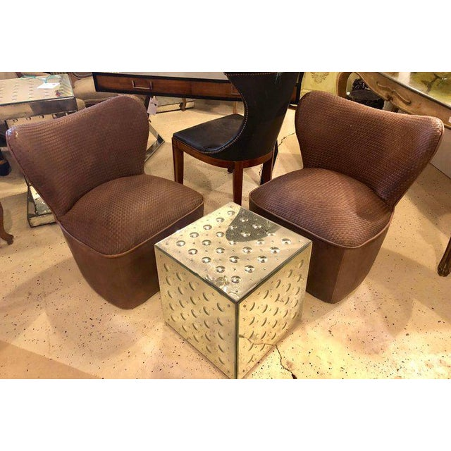 A pair of woven modern leather seat and backrest side chairs in brown leather tweed. The pair are quite comfortable. Very...