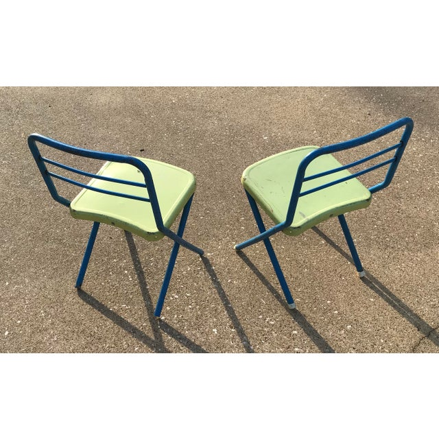 Vintage Children's Metal Folding Chairs - a Pair For Sale - Image 4 of 11