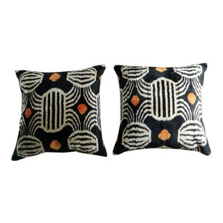 Handmade in Ikat Silk Fabric on Both Sides Pillows - a Pair For Sale