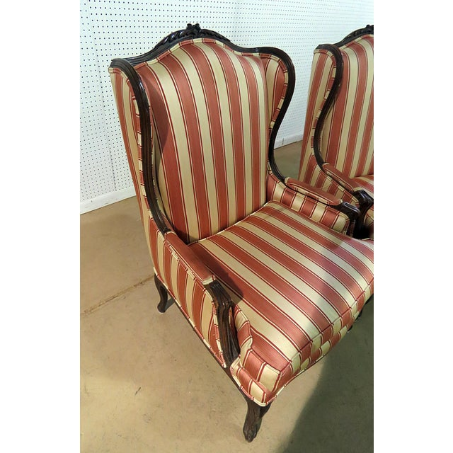Red Louis XV Style Wingback Chairs - a Pair For Sale - Image 8 of 13