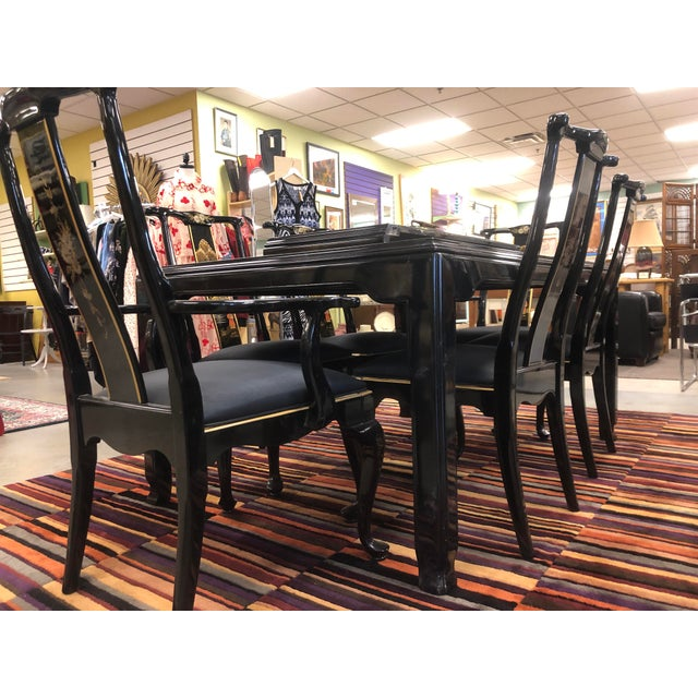 Asian Century Furniture Black Lacquer Asian Dining Set For Sale - Image 3 of 13