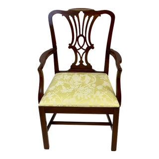 Late 20th Century Chippendale Style Arm Chair For Sale