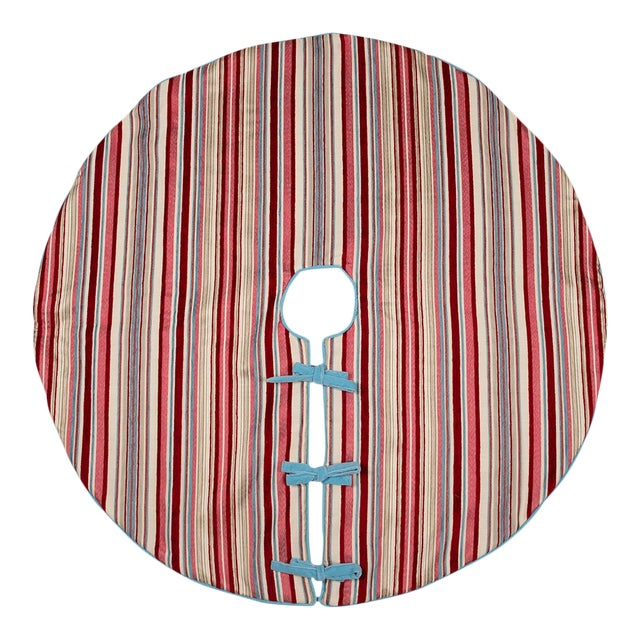 Contemporary Red, Pink and Blue Striped Tree Skirt For Sale