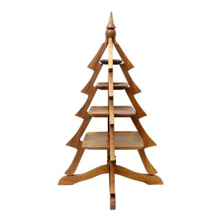 Vintage Mid-Century MCM Teak Wood Christmas Tree Serving Platter For Sale