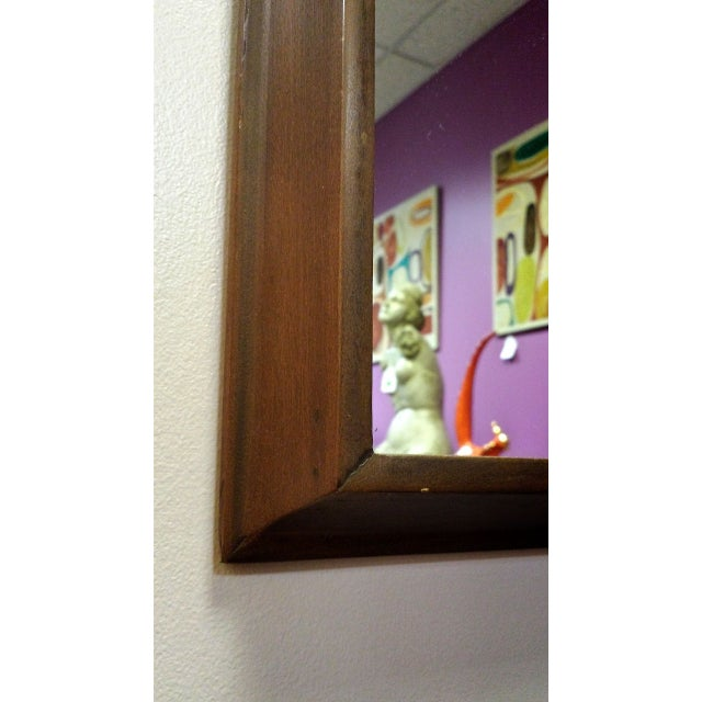 Decorative Mid-Century Walnut Frame Mirror - Image 4 of 6