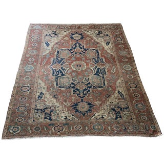 Early 20th Century Antique Persian Serapi Rug - 8′7″ × 11′9″ For Sale