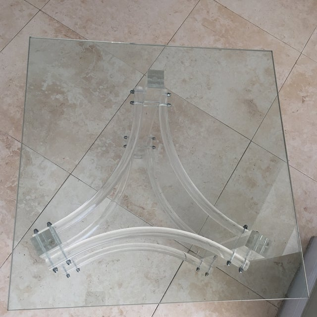 Mid-Century Lucite Glasstop End Table - Image 3 of 3